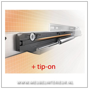Blum MOVENTO ladegeleider met geïntegreerde TIP-ON functie 600 mm 40 kg